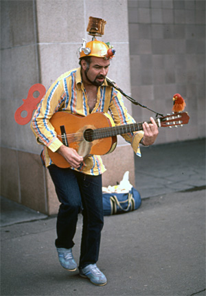 A street musician in Sydney, Australia